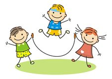 Children and rope. Vector icon. Two boys and girl. Summer activity Royalty Free Stock Images