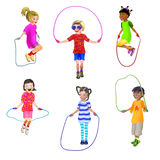 6 children roping jump. 6 children having fun roping jump, shown in 6 different positions of their jump and of the rope stock illustration