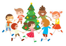 Children round dancing Christmas tree in baby club. Illustration. Childhood, cartoon, fun and Christmas party. Kids dance around Christmas tree.  Roundelay baby Stock Images