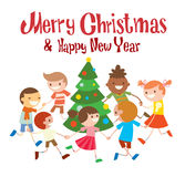 Children round dancing Christmas tree in baby club. Illustration. Childhood, cartoon, fun and Christmas party. Kids dance around Christmas tree.  Roundelay baby Royalty Free Stock Photo