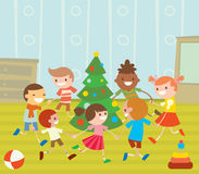 Children round dancing Christmas tree in baby club. Illustration. Childhood, cartoon, fun and Christmas party. Kids dance around Christmas tree.  Roundelay baby Royalty Free Stock Photography