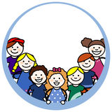 Children in round frame Royalty Free Stock Image