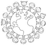 Children round the Globe. Black and white outline Stock Photo