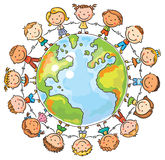 Children round the Globe Stock Image