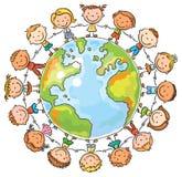 Children round the Globe. Happy cartoon children round the Globe as a symbol of peace or global communication Stock Image