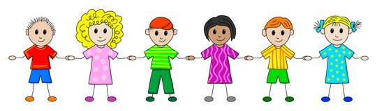 Children in a row. Illustration of children in a row Royalty Free Stock Photos