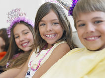 Children In Row At Birthday Party Stock Image