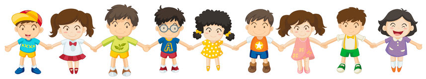 Children in a row. Illustration of the children in a row on a white background vector illustration