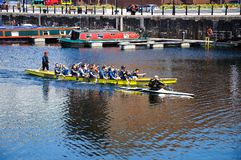 Children rowing in Salthouse Dock. Stock Images