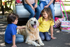 Children ruffling the dogs fur Stock Photography