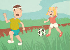 Children run, are playing football, little kids having fun, running around in the field, brother and sister,'s Day. Children run, children are playing football stock illustration