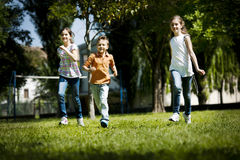 Children running. In the park Stock Images