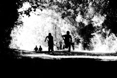 Children Running. Summer landscape - solitary tree with white copy space Stock Photo