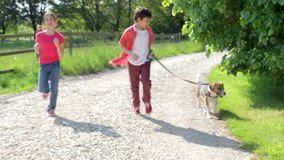 Children Running Along Country Path With Dog. Camera tracks two children running along country track with pet dog.Shot on Canon 5d Mk2 with a frame rate of 25fps stock footage