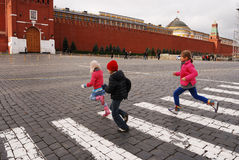 Children Running At The Red Square, Moscow Royalty Free Stock Photography