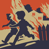Children running away from fire flames. Frightened children escaping from fire Royalty Free Stock Photo