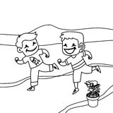 Children running coloring page Stock Photo