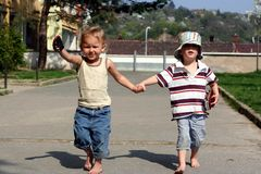 Children are running forward Stock Photography