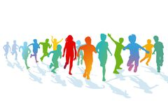 Children running and jumping Royalty Free Stock Image