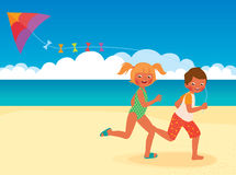 Children running with a kite on the beach Stock Image