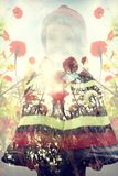 double exposure girl background Stock Image