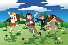 Children running on the open field of wild flowers. A vector illustration of children running on the open field of wild flowers for carefree concept Stock Images