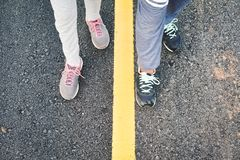 Children running on the road for health Stock Images