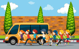 Children running on the street. Illustration royalty free illustration
