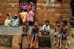 Children in rural India. August 24, 2012 Dhani Village,Orissa,India,Asia-A group of tribal children at the remote village of Orissa Stock Image