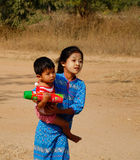 Children on rural road in Bagan, Myanmar Stock Photos