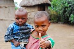 Children in rural village in Africa stock photo