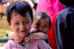 Children in rural village life in Tibet Stock Photo