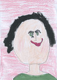 Children rysunek - czarnogłowa dziewczyna Zdjęcie Royalty Free