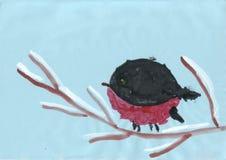 Children rysunek - ptak siedzi na śnieżystej gałąź Fotografia Royalty Free