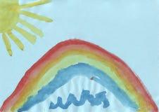 Children rysunek tęcza i słońce - Fotografia Royalty Free