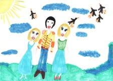 Children rysunku Dwa dziewczyny jeden chłopiec siostra i brat Zdjęcia Royalty Free