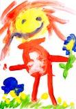 Children rysunku wodnego koloru farby