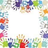 Children' s手印刷品边界 免版税图库摄影