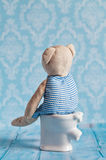 Children& x27; s软的玩具玩具熊坐洗手间在小家家里 蓝色卫生间 使用与在的玩偶 免版税库存照片
