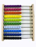 Children`s abacus. scores with colored knuckles for children to learn basics of mathematics and arithmetic, first addition, royalty free stock photos