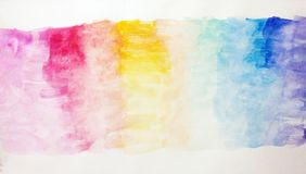 Children`s Abstract watercolor painting called Dream Rainbow. Colorful watercolor background in soft pastel shades of pink to purple with some ink details Stock Images