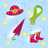 Childrens accessories. Kidswear subjects for walks in the rain royalty free stock photos