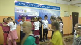 Children's actions in an elementary school, September 18, 2015, Health Day, Russia stock video