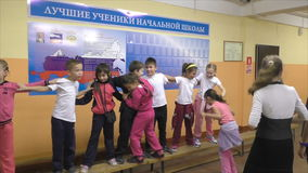 Children's actions in an elementary school, September 18, 2015, Health Day, Russia stock footage