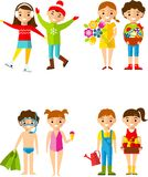 Children's activities during the four seasons. Stock Images
