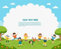 Children`s activities. Happy children are jumping on the park. Template for advertising brochure stock illustration