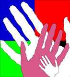 Children's and adult hands together Stock Images