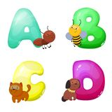 Children`s alphabet with animals. The letters A B C D. Children`s educational toy. Pre-school education. A poster in the vector illustration