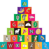 Children's Alphabet Building Bricks. A Children's Alphabet Building Blocks isolated on white Royalty Free Stock Photo