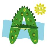 Children`s alphabet letter A. And crocodile Royalty Free Stock Images
